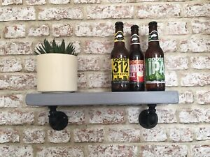 Pair Of Handmade Industrial Iron Steampunk Loft Style Shelf. Chunky Wood In Grey