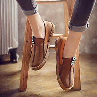 New Womens Comfy Flat Fashion Round Toe Faux-Suede Loafers Casual Slip On Shoes