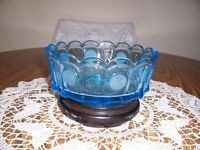 FOSTORIA BLUE COIN GLASS BOWL