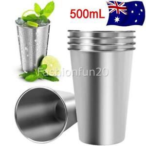 5Pcs 500ml Stainless Steel Cup Coffee Beer Drinking Mug Camping Party Tumbler