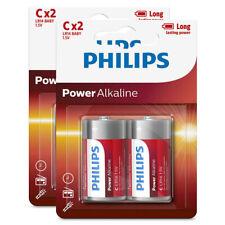 4PK Philips C Alkaline Single Use Battery 1.5V LR14 Long Lasting Batteries