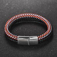 Handmade Men's Genuine Leather Braided Bracelet Stainless Steel Magnetic Bangle