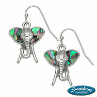 Elephant Earrings Paua Abalone Shell Womens Silver Fashion Jewellery 25mm Drop