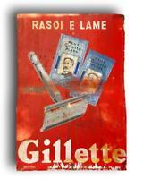 targa insegna pubblicitaria latta gillette 1950 metalgraf pubblicità vintage