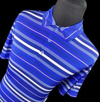 Nike Golf Blue White Striped Short Sleeve Performance Dri Fit Polo Shirt Large L