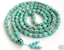 Carved Skull Buddhist Tibetan Turquoise 108 Prayer Mala Beads Necklace Feng Shui