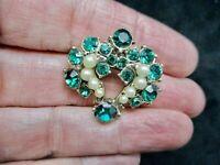 Vintage 1950's Emerald Green & Faux Pearl Rhinestone