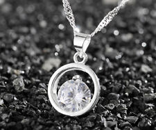 925 Silver plating Fashion Women Crystal Rhinestone Necklace Pendant Chain #9