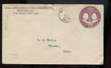US Mid-West Stationery Advertising Cover (Oat Meal Co) 1893 Muscatine, Iowa