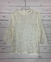 Loft Women's M Medium Ivory Lace 3/4 Sleeves Sheer Spring Summer Cute Top Blouse