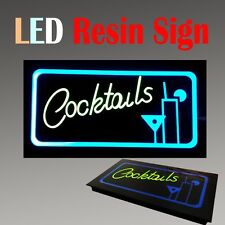 "Lighted Led Resin Window Sign Cocktails Bar Restaurant Non Neon Display 17""x 9"""