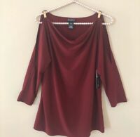 NWT Soho Apparel Ltd Size M Medium Blouse Cold Shoulder Burgundy