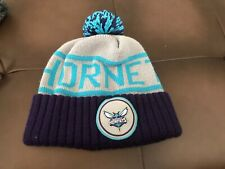 Charlotte Hornets Mitchell & Ness Beanie Purple Grey & Teal With Pom Pom On Top