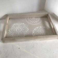 Shabby Chic White and Natural Mandala Print Rectangular Wooden Tray