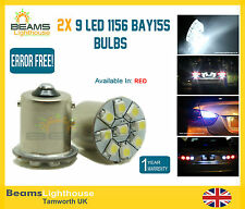9 Led 1156 Ba15s P21w Canbus Error Free OBC Rojo sidelight indicador Bombillas X 2