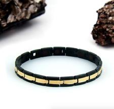 Authentic Pur life Negative Ion Bracelet ELEGANT Polished Black & Gold PURELIFE