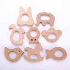 Cute Safe Natural Wooden Animal Shape Ring Baby Teether Teething Toy Shower Gift