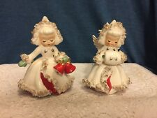 1958 Holt Howard Ermine Angels Candle holders with Spaghetti Trim Euc!