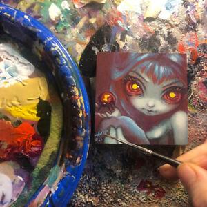 Tiny Treasure 204 Jasmine Becket-Griffith ORIGINAL PAINTING spider fairy pop art
