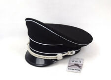 WW2 German Elite Officer's Wool Visor Hat W White Chin Pipe Silver Cord Replica