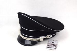 WW2 German Elite Officer's Wool Visor Hat W White Chin Pipe Silver Cord Replica