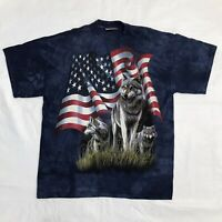 The Mountain Wolves & American Flag Blue Short Sleeve T Shirt Men's Size Large