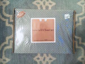 NIB Twin XL Sheet Set 300 Thread Count Gray Polka Dot, 2 Pillowcase Scallop Dorm