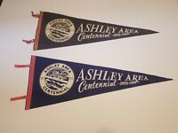 TWO LARGE Vintage Felt 1970 ASHLEY PA AREA CENTENNIAL Pennant Flag PENNSYLVANIA