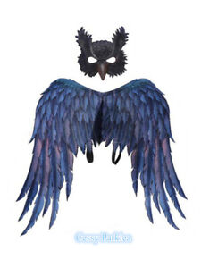 BO3 Deluxe Large Eagle Owl Wings & Mask Fairy Halloween Costume Accessory