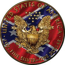 2018 1 Oz Silver Eagle Coin - US & CONFEDERATE FLAGS - Box + CoA - Gold Gilded