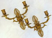 Antique 2x French Empire Pair Sconces RARE Swans Wall Light Gilded Bronze 1900