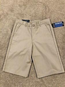 NWT$36 Nautica Boy School Uniform Khaki Stretch Shorts N8E0015Q Adjustable waist