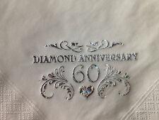 15 SPARKLING DIAMOND 60TH WEDDING ANNIVERSARY QUALITY WHITE 3PLY DINNER NAPKINS