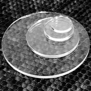 CLEAR LASER CUT PLASTIC CIRCLES 3MM THICK ACRYLIC DISCS - PERSPEX