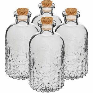 4 x 240 ml Leere Flasche mit Korken Glasflasche für Liköre Likörflaschen