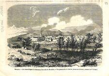 Mexique Mines Argent à Chihuahua Hacienda de Beneficios las huertas GRAVURE 1866