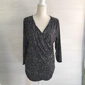 NWT Motherhood Maternity - Black abstract faux wrap top, XL