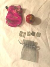 Chinese Ying Yang Ball in Silken Bag Red Floral Ball Magenta Bag and Charm Bag