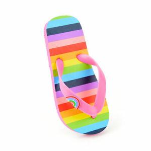 Girls Rainbow Stripe Flip Flops Sandals Pool Shoes Sizes 9-3 UK NEW FREE POST