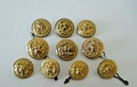 "US Navy Eagle and Anchor Buttons Lot of 10 Brass Gold Tone 6 1"" & 4 3/4"" Vintage"
