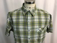 KUHL Mens Large L Short Sleeve Button Front Plaid Checkered Shirt