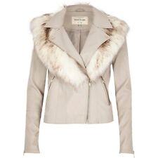 river island faux fur collar leather biker jacket stone grey size 6