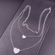 1pcs stainless steel women Sweet Love Heart Pendant Necklace Silver Two Tags