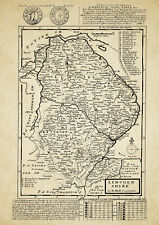 Lincolnshire County Map by Herman Moll 1724 - Reproduction