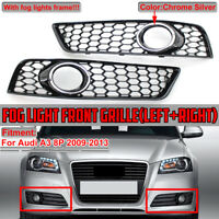 Honeycomb Hex Mesh Fog Light Grill Grille Cover For Audi A3 8P 2009-2013