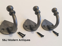 Single Coat Hook Iron Antique Modern Spearhead Vintage Black Grey Hat Rack Set 3