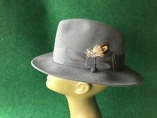 SELENTINO STERLING 100% FUR FELT MEN'S GREY FEDORA HAT, SIZE 6 3/4 EUC!
