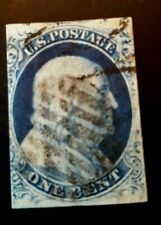 Us stamps 19th century used scott #9 F/VF vivid dark blue see details