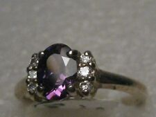 5.5, 2.30 gr. Clear Stones Too Sterling Silver Created Amethyst Ring, Size