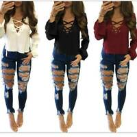 Fashion Womens Ladies Celeb Stretch Ripped Jeans Skinny High Waist Denim Pants
